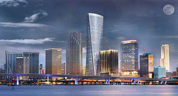 Rendering of Florida East Coast Realty's One Bayfront Plaza as part of the Miami skyline