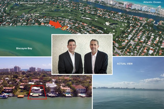 Aerial shots of 5350 North Bay Road and listing agents Allan Kleer and Fabian Garcia-Diaz of Fortune International Realty