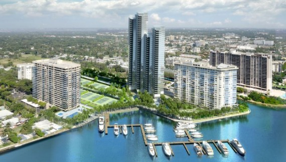 A rendering of the two-tower Apeiron at the Jockey Club project in North Miami