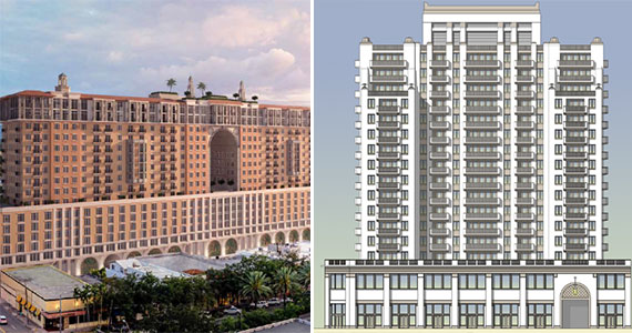 Renderings of the Related Group and Allen Morris Company's proposal, leftl, and of the Terranova Corp. and ZOM proposal, right