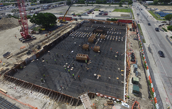Aerial of the Paramount Miami Worldcenter construction site