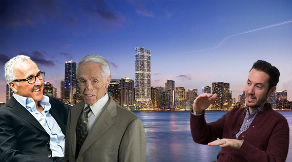 A rendering of The Towers. Inset: Frank McCourt, Tibor Hollo and Ryan Freedman