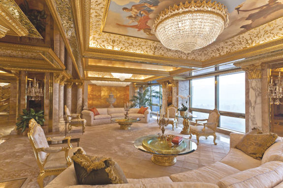 Donald Trump's primary residence at Trump Tower on Fifth Avenue.