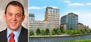 Lightstone CEO David Lichtenstein and a rendering of the Gowanus project at