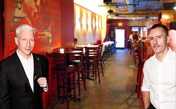 Anderson Cooper (left inset,) Ben Maisani (right inset) and the Ninth Avenue bar