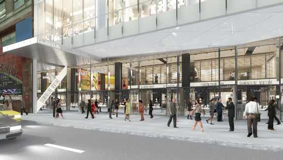 A rendering of the space on the ground floor of the International Gem Tower