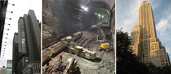 From left: 810 Seventh Avenue, the East Side Access project and 500 Fifth Avenue