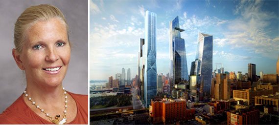 Darcy Stacom and a rendering of Hudson Yards