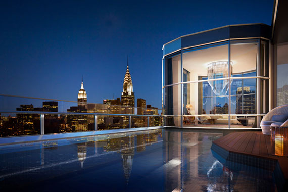 The penthouse atop 50 United Nations Plaza (Credit: Hayes Davidson/James Ewing Photography via New York Post)