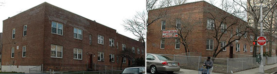 From left: Beleaguered landlord Yeshaya Wasserman's 652-668 Brooklyn Avenue and 651-667 Brooklyn Avenue
