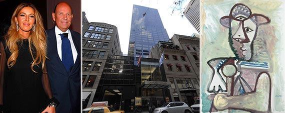 """From left: Nina Stevens, Patrick Heiniger, 641 Fifth Avenue and Picasso's """"Buste d'homme"""""""