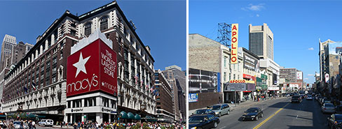 From left: Macy's at Herald Square and Harlem's 125th Street