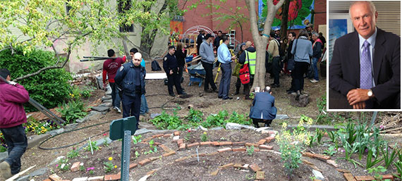 Children's Magical Garden at 157 Norfolk Street (Credit: EV Grieve) and Serge Hoyda (inset)
