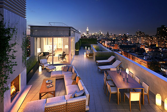 The rooftop at the triplex penthouse at One Vandam