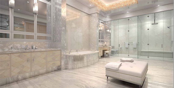 The master suite at 435 East 52nd Street