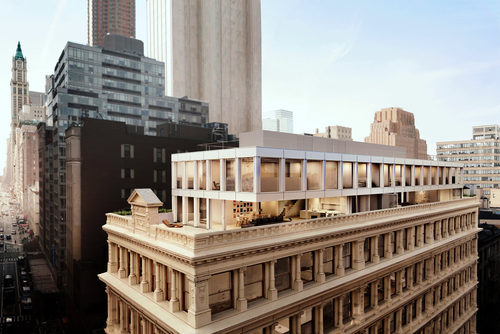 Renderings of the penthouses atop 67 Franklin Street (Credit: Hayes Davidson)