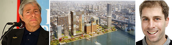Marty Markowitz, a rendering of the Domino Sugar Factory redevelopment and Jed Walentas