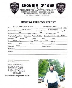 The missing persons report filed with the Williamsburg shomrim