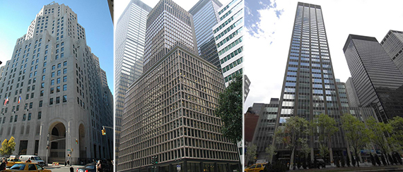 From left: 11 Madison Avenue, 280 Park Avenue and 399 Park Avenue