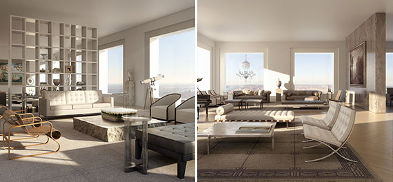 Renderings of a unit at 432 Park Avenue (Credit: DBOX