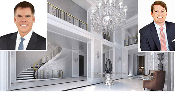 From left: John Burger, a rendering of the foyer at 435 East 52nd Street. and Kyle Blackmon