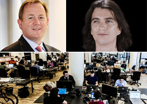 Clockwise from left: Regus CEO Mark Dixon, WeWork CEO Adam Neumann and a WeWork space at 175 Varick Street