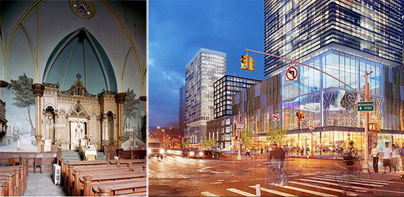 From left: Essex Crossing rendering, synagogue at 60 Street