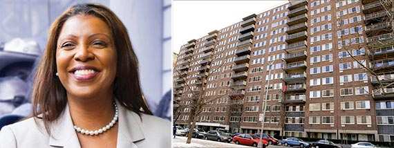 From left: Letitia James and 160 West 97th Street