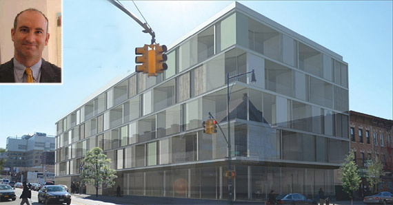 Inset: Principal of Hudson Companies David Kramer and previous rendering of possible structure on site by CPEX