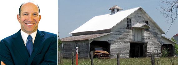 From left: Howard Lutnick and a barn