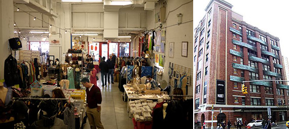 From left: interior of Arts & Fleas space and exterior of Chelsea Market