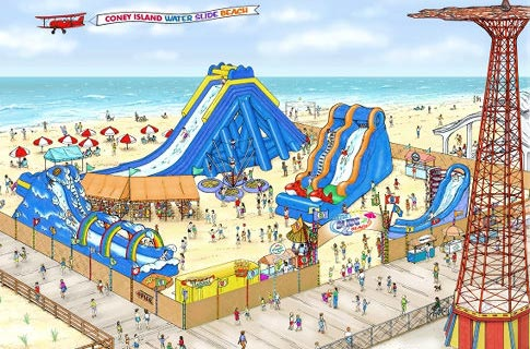 Rendering of Water Slide Beach, a Coney Island water park plan that fizzled in 2012