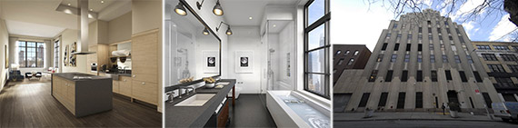 From left: Interiors and exterior of 425 West 50th Street
