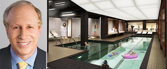 From left: Larry Gluck and rendering of pool at 666 West End Avenue
