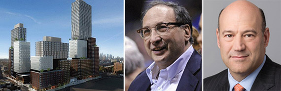 From left: Atlantic Yards rendering, Bruce Ratner of Forest City Ratner and Goldman Sachs Urban chief executive Gary Cohn
