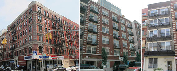 From left: 106-108, 114 and 118 Ridge Street on the Lower East Side