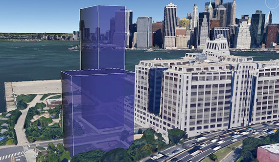 Rendering of the proposed affordable housing at Brooklyn Bridge Park's Pier 6