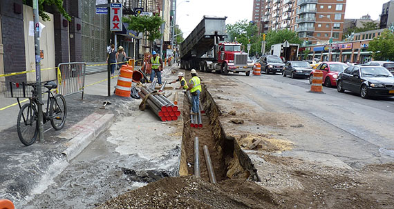 Work along East Houston Street in 2013