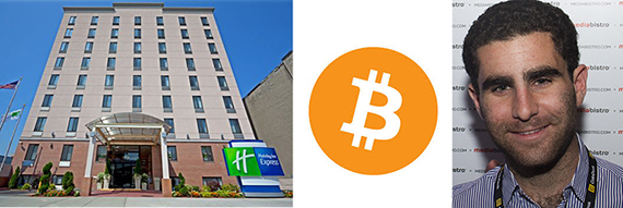From left: Holiday Inn Express, the Bitcoin logo and Charlie Shrem