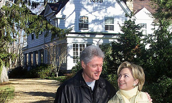 Bill and Hillary Clinton and their Chappaqua, NY home