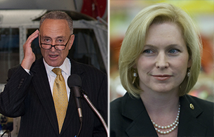 From left: Senators Charles Schumer and Kirsten Gillibrand