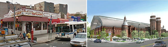 From left: 2647 Jerome Avenue and Kingsbridge Armory rendering