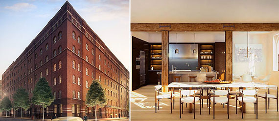 From left: Exterior of 443 Greenwich Street and a rendering of a penthouse unit
