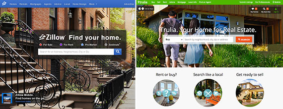 From left: Trulia and Zillow's home pages