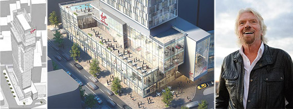 From left: Two leaked rendering of Virgin Hotel at 1205 Broadway and Richard Branson