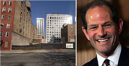 From left: 511 West 35th Street and Eliot Spitzer