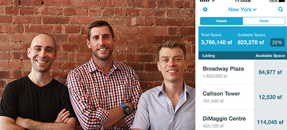 From left: Hightower founders Donald DeSantis, Brandon Weber and Niall Smart and a screenshot of Hightower's iPhone app