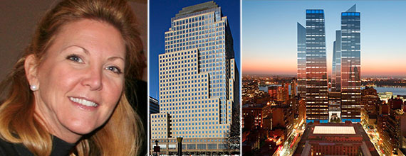 From left: Cushman & Wakefield's Sherry Cushman, 4 Brookfield Place and a rendering of Manhattan West