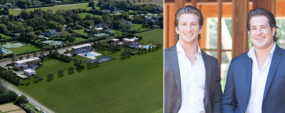 From left: Sagaponack estate rendering (GRADE Architecture + Interior Design) and Cody and Zach Vichinsky of Bespoke Real Estate