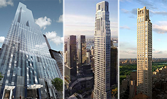 From left: One57, 220 Central Park South and 520 Park Avenue